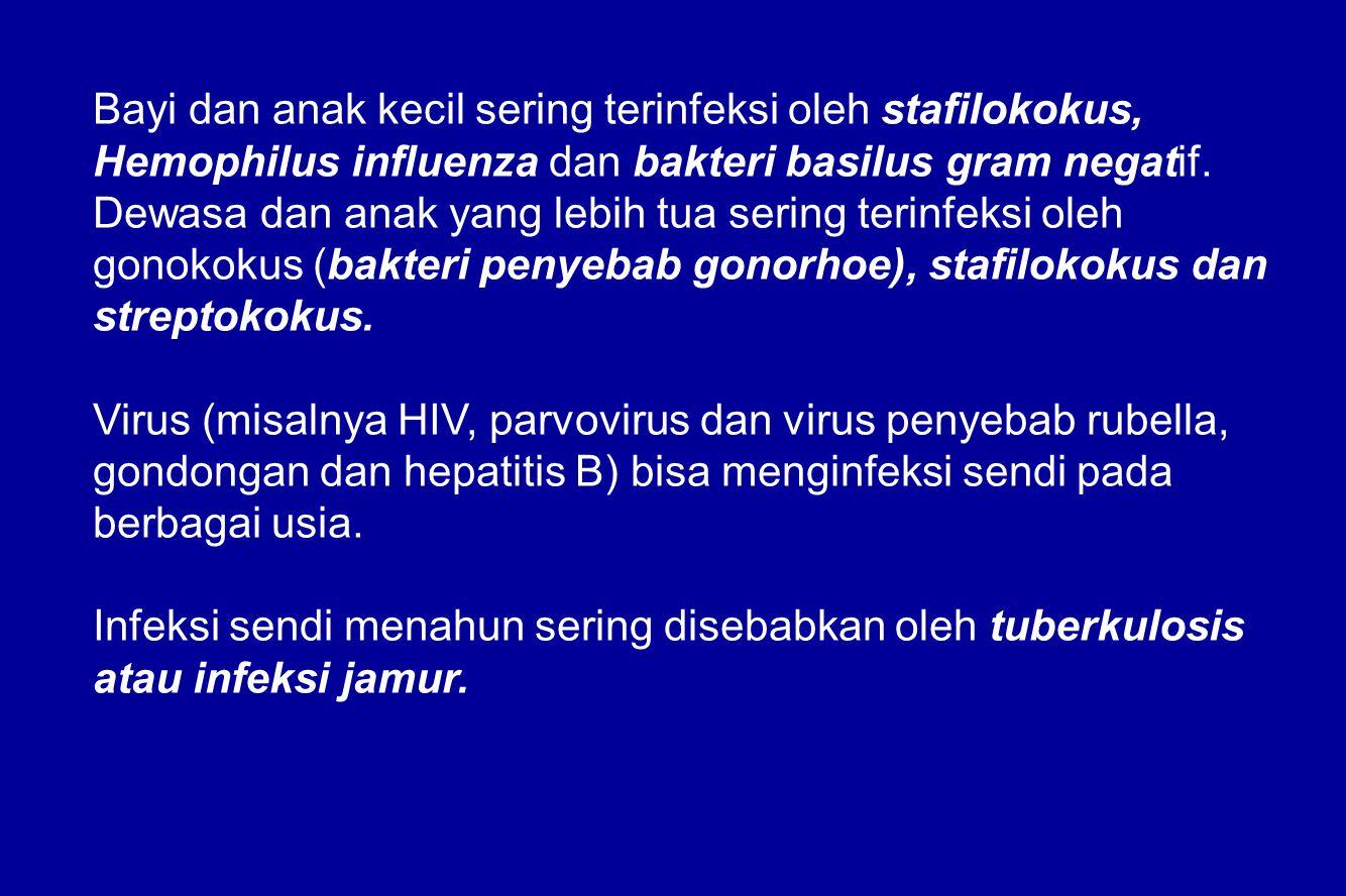 Bayi dan anak kecil sering terinfeksi oleh stafilokokus, Hemophilus influenza dan bakteri basilus gram negatif. Dewasa dan anak yang lebih tua sering