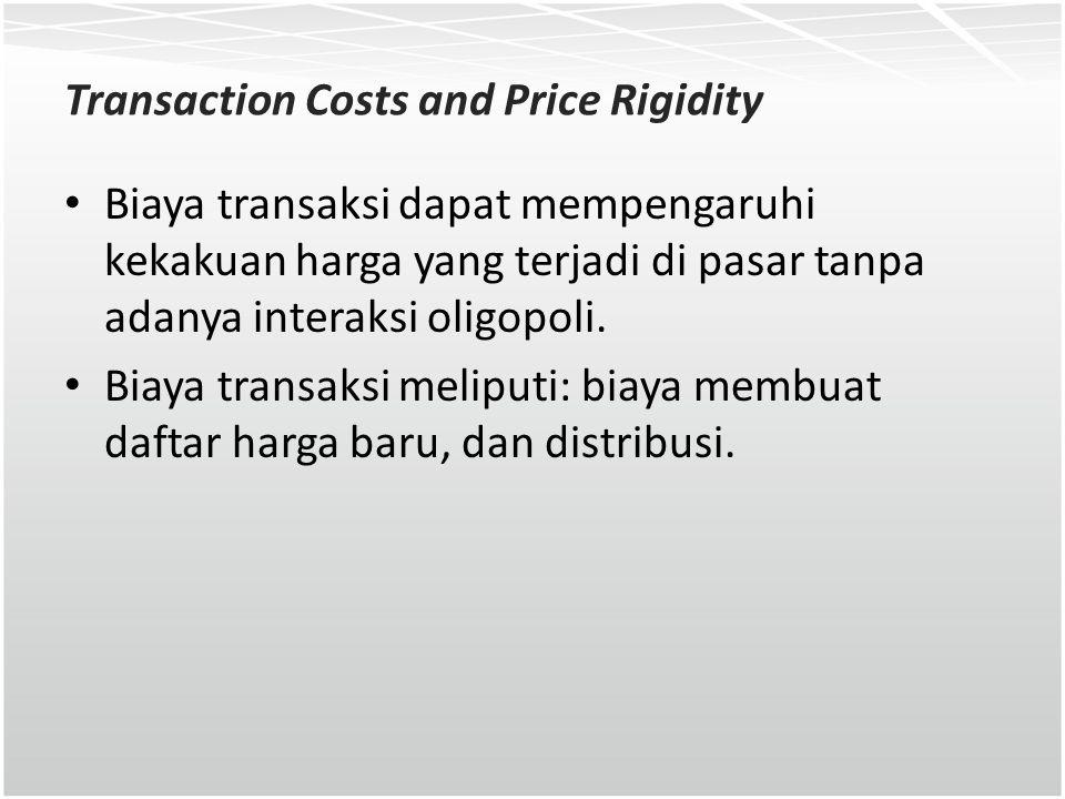 Transaction Costs and Price Rigidity Biaya transaksi dapat mempengaruhi kekakuan harga yang terjadi di pasar tanpa adanya interaksi oligopoli. Biaya t