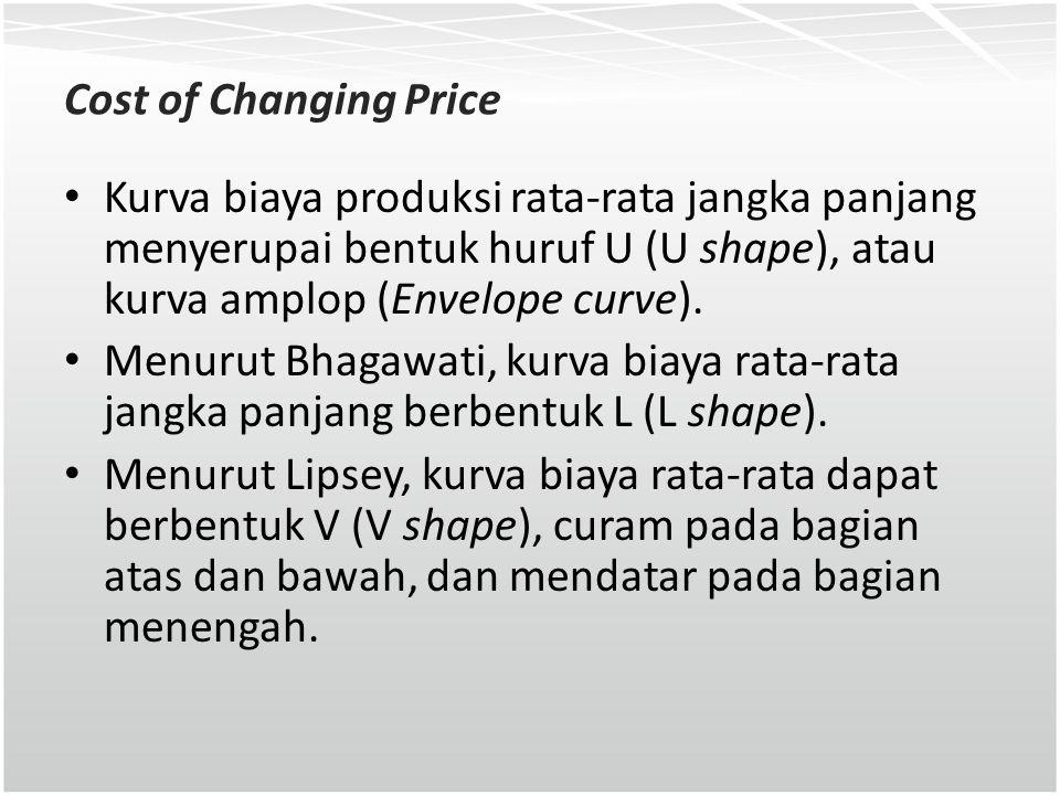 Cost of Changing Price Kurva biaya produksi rata-rata jangka panjang menyerupai bentuk huruf U (U shape), atau kurva amplop (Envelope curve). Menurut
