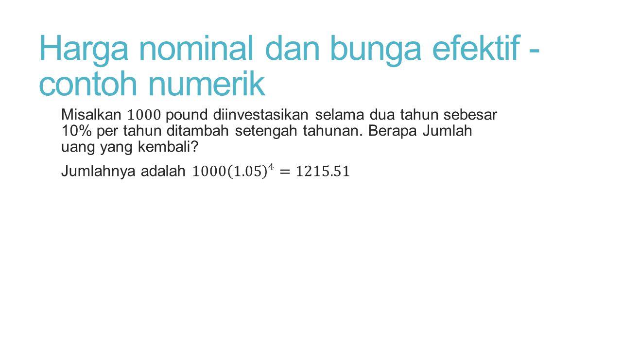 Harga nominal dan bunga efektif - contoh numerik