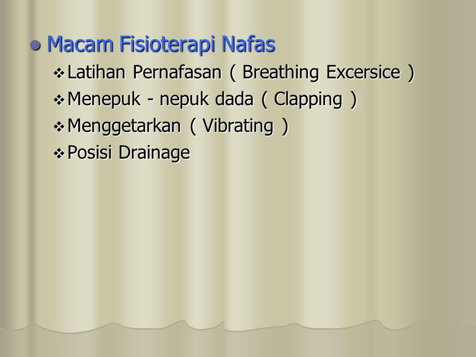 Macam Fisioterapi Nafas Macam Fisioterapi Nafas  Latihan Pernafasan ( Breathing Excersice )  Menepuk - nepuk dada ( Clapping )  Menggetarkan ( Vibr
