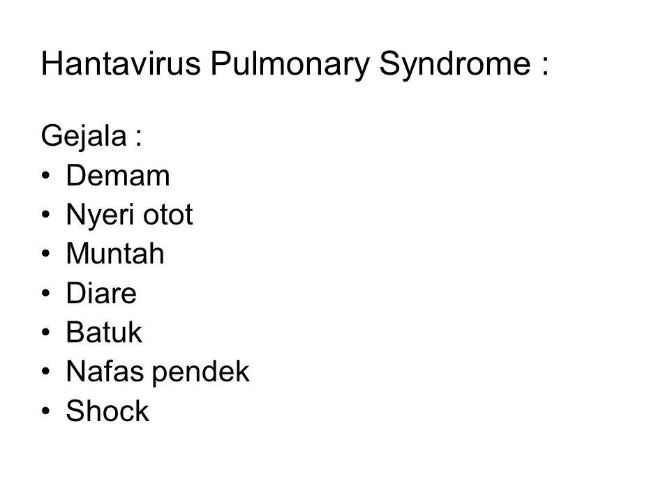 Hantavirus Pulmonary Syndrome : Gejala : Demam Nyeri otot Muntah Diare Batuk Nafas pendek Shock