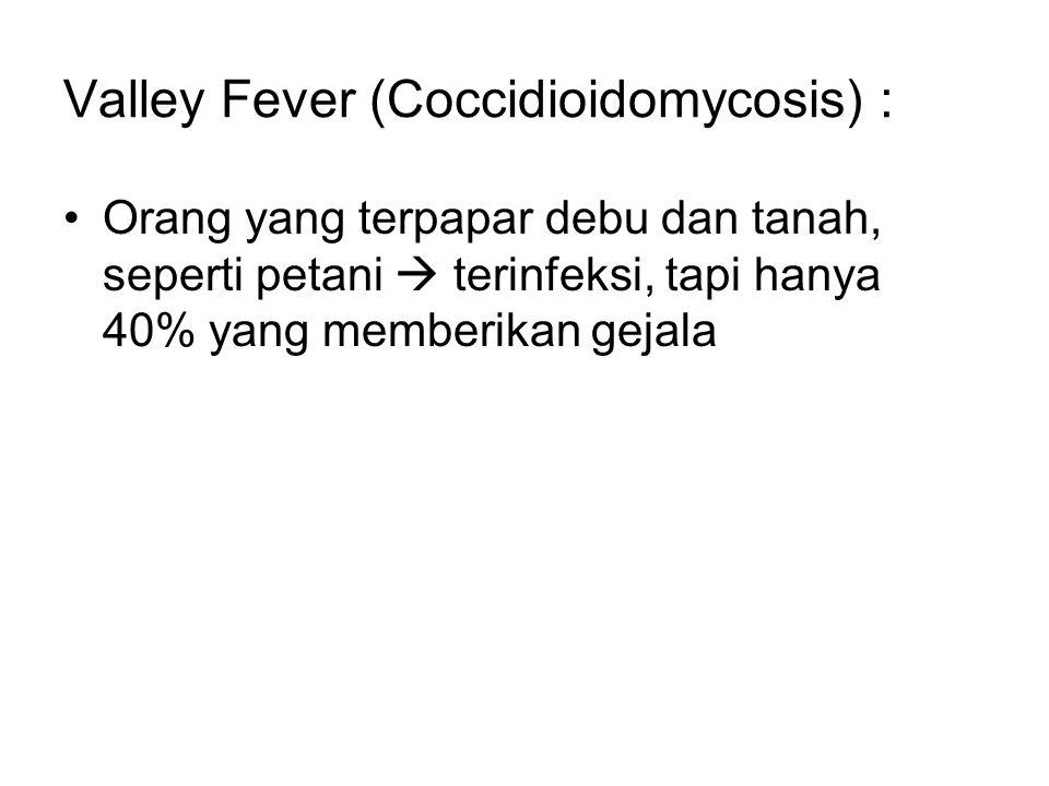 Valley Fever (Coccidioidomycosis) : Orang yang terpapar debu dan tanah, seperti petani  terinfeksi, tapi hanya 40% yang memberikan gejala