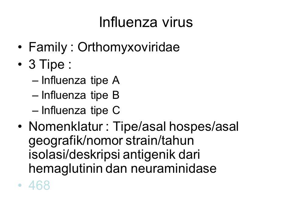 Influenza virus Family : Orthomyxoviridae 3 Tipe : –Influenza tipe A –Influenza tipe B –Influenza tipe C Nomenklatur : Tipe/asal hospes/asal geografik