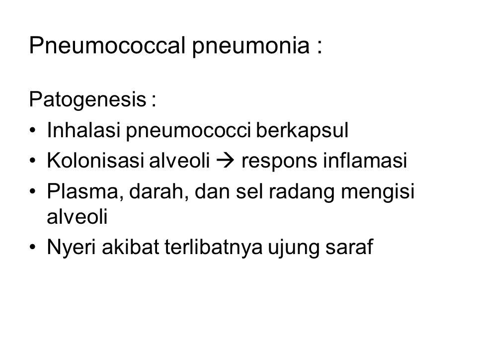 Pneumococcal pneumonia : Patogenesis : Inhalasi pneumococci berkapsul Kolonisasi alveoli  respons inflamasi Plasma, darah, dan sel radang mengisi alv