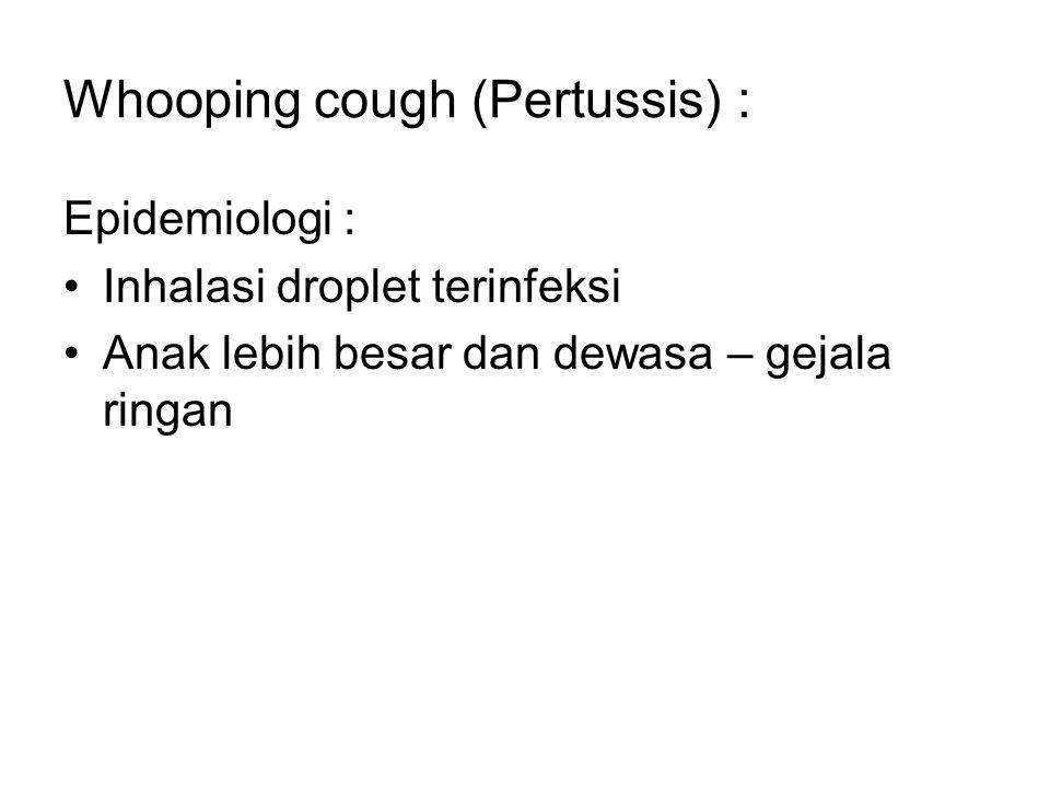 Whooping cough (Pertussis) : Epidemiologi : Inhalasi droplet terinfeksi Anak lebih besar dan dewasa – gejala ringan