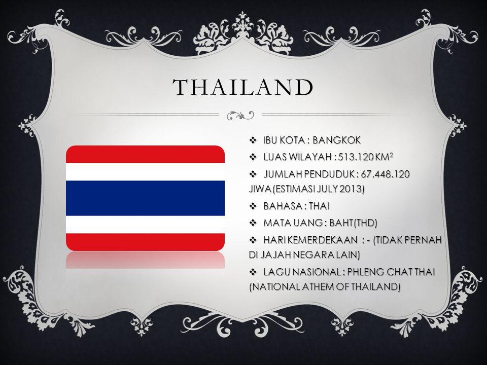 THAILAND  IBU KOTA : BANGKOK  LUAS WILAYAH : 513.120 KM 2  JUMLAH PENDUDUK : 67.448.120 JIWA(ESTIMASI JULY 2013)  BAHASA : THAI  MATA UANG : BAHT