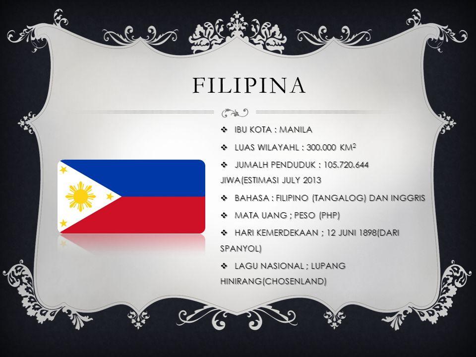 FILIPINA  IBU KOTA : MANILA  LUAS WILAYAHL : 300.000 KM 2  JUMALH PENDUDUK : 105.720.644 JIWA(ESTIMASI JULY 2013  BAHASA : FILIPINO (TANGALOG) DAN