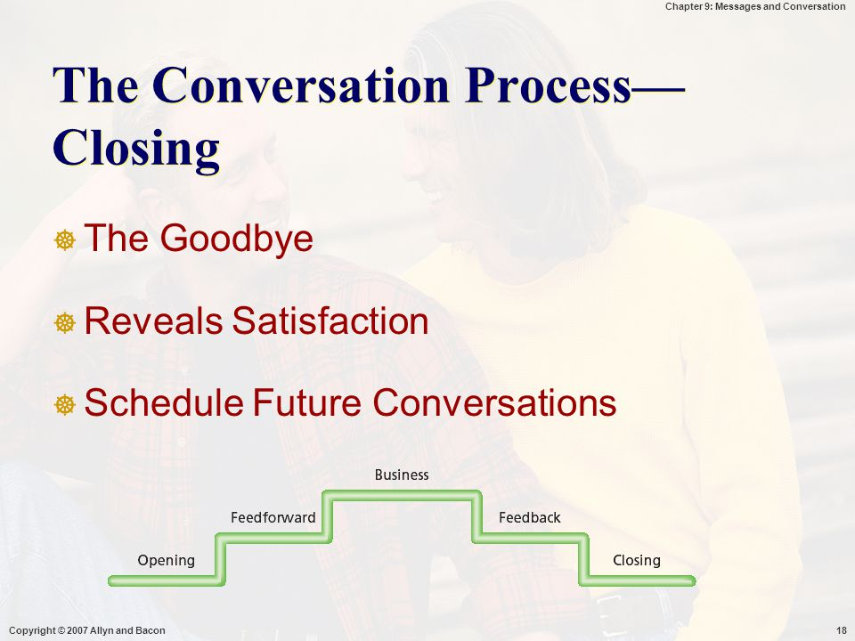 Chapter 9: Messages and Conversation Copyright © 2007 Allyn and Bacon18 The Conversation Process— Closing  The Goodbye  Reveals Satisfaction  Sched