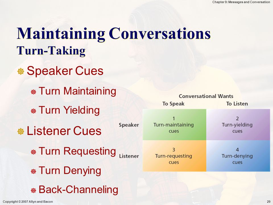 Chapter 9: Messages and Conversation Copyright © 2007 Allyn and Bacon29 Maintaining Conversations Turn-Taking  Speaker Cues  Turn Maintaining  Turn