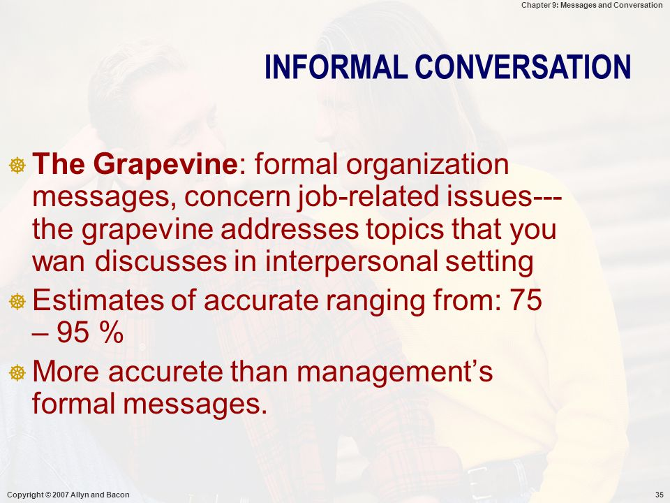 Chapter 9: Messages and Conversation Copyright © 2007 Allyn and Bacon35  The Grapevine: formal organization messages, concern job-related issues--- t