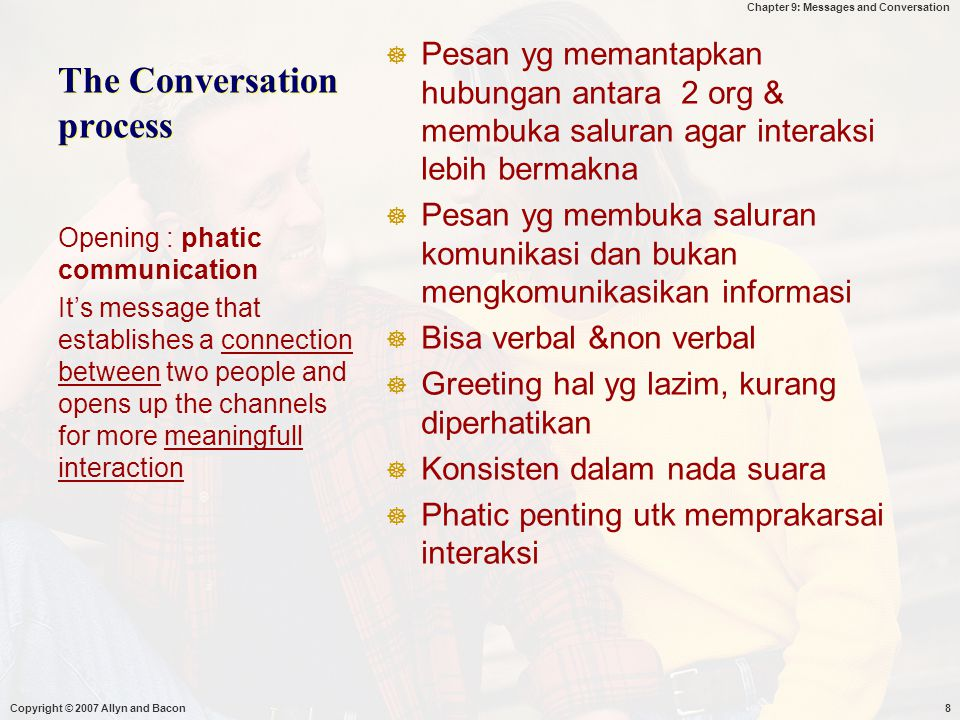 Chapter 9: Messages and Conversation Copyright © 2007 Allyn and Bacon29 Maintaining Conversations Turn-Taking  Speaker Cues  Turn Maintaining  Turn Yielding  Listener Cues  Turn Requesting  Turn Denying  Back-Channeling