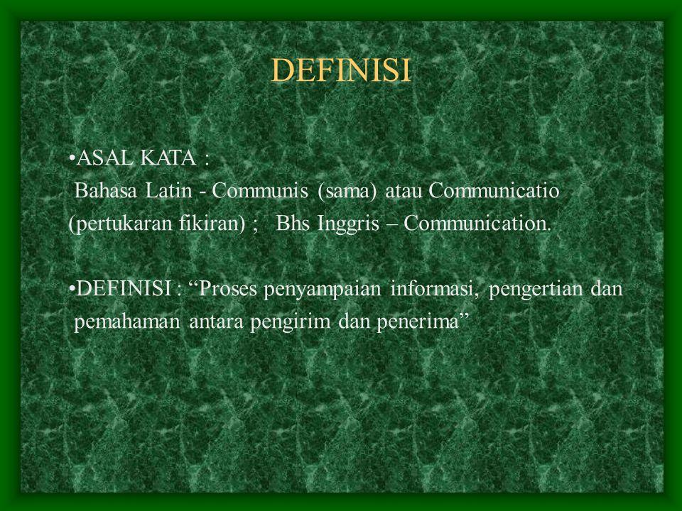 DEFINISI ASAL KATA : Bahasa Latin - Communis (sama) atau Communicatio (pertukaran fikiran) ; Bhs Inggris – Communication.