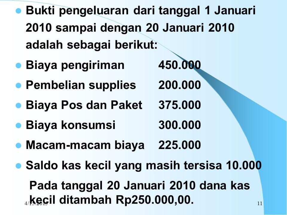 4/15/201511 Bukti pengeluaran dari tanggal 1 Januari 2010 sampai dengan 20 Januari 2010 adalah sebagai berikut: Biaya pengiriman450.000 Pembelian supp
