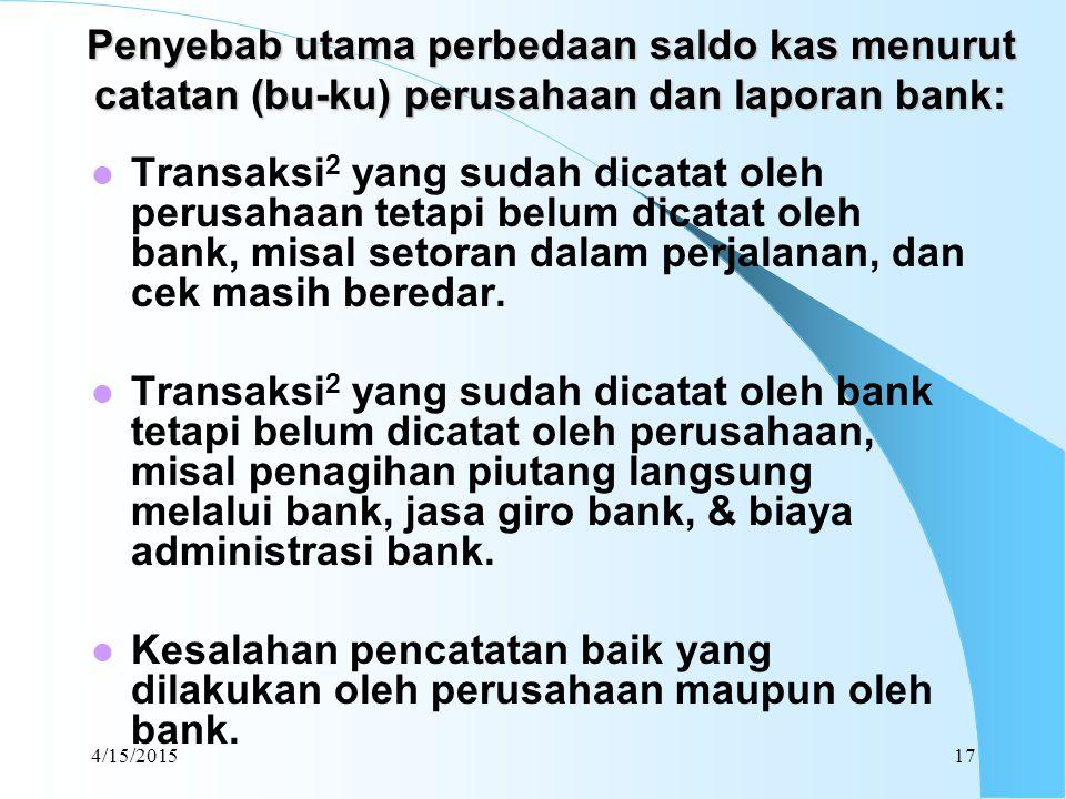 4/15/201517 Penyebab utama perbedaan saldo kas menurut catatan (bu-ku) perusahaan dan laporan bank: Transaksi 2 yang sudah dicatat oleh perusahaan tet