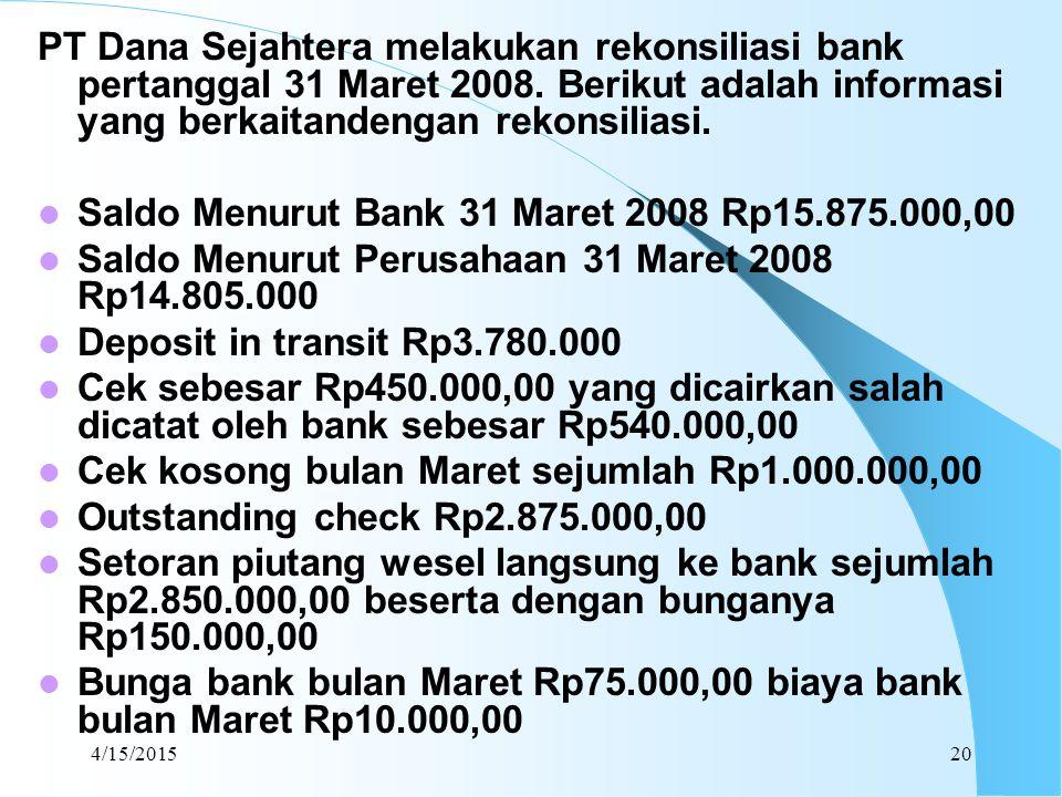 4/15/201520 PT Dana Sejahtera melakukan rekonsiliasi bank pertanggal 31 Maret 2008. Berikut adalah informasi yang berkaitandengan rekonsiliasi. Saldo