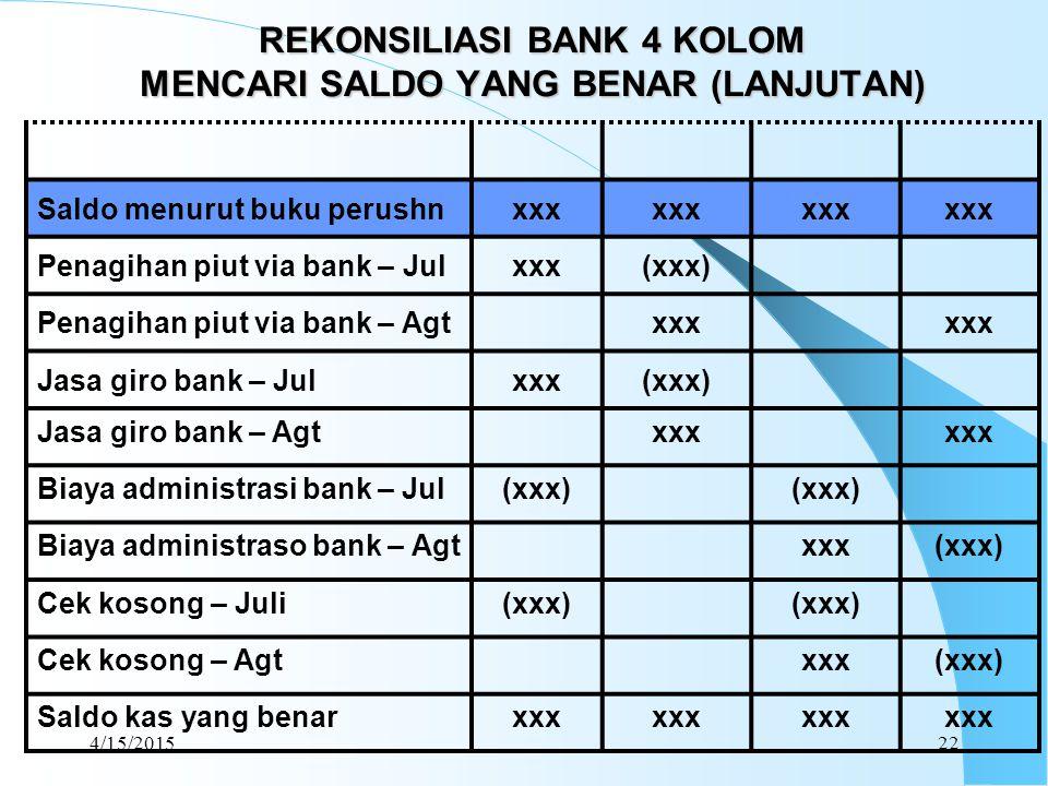 4/15/201522 REKONSILIASI BANK 4 KOLOM MENCARI SALDO YANG BENAR (LANJUTAN) Saldo menurut buku perushnxxx Penagihan piut via bank – Julxxx(xxx) Penagiha