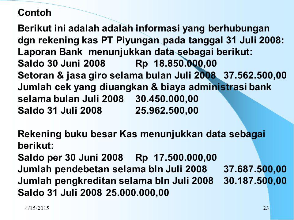 4/15/201523 Berikut ini adalah adalah informasi yang berhubungan dgn rekening kas PT Piyungan pada tanggal 31 Juli 2008: Laporan Bank menunjukkan data