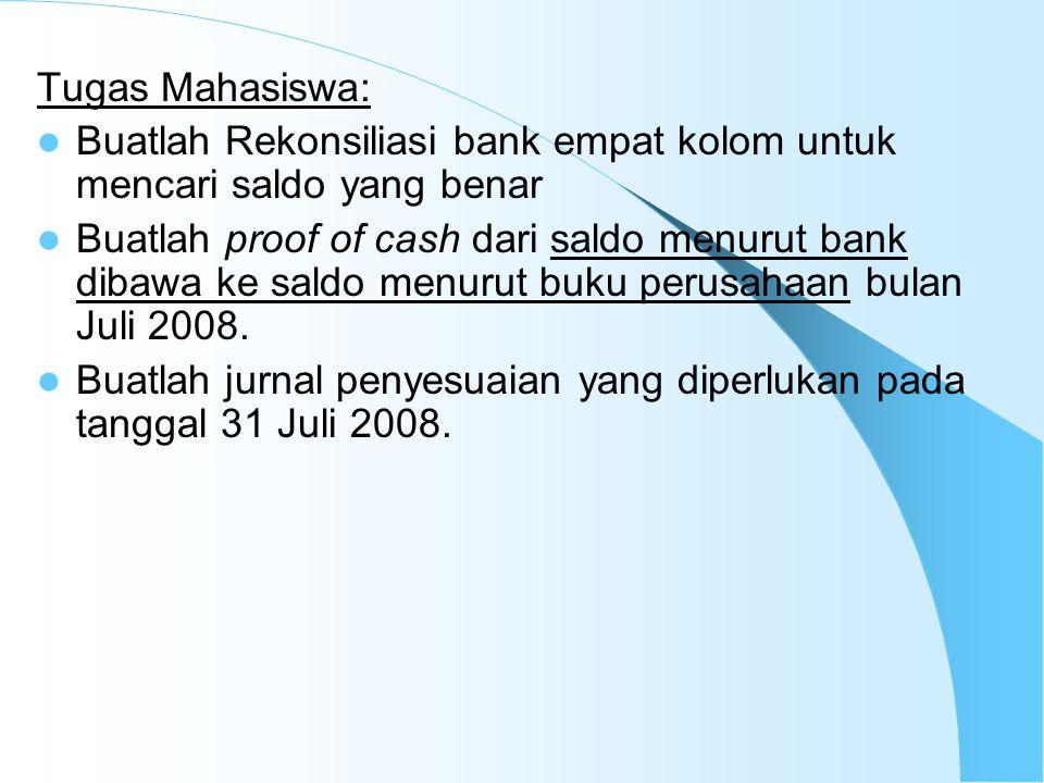 Tugas Mahasiswa: Buatlah Rekonsiliasi bank empat kolom untuk mencari saldo yang benar Buatlah proof of cash dari saldo menurut bank dibawa ke saldo me