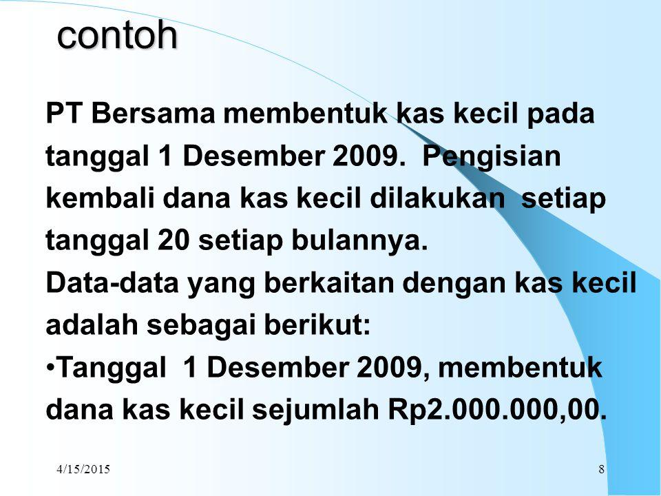  Bukti-bukti pengeluaran yang dikumpulkan adalah dari tanggal 1 Desember 2009 sampai dengan tanggal 20 Desember 2009 adalah : Biaya pengiriman700.000 Pembelian supplies150.000 Biaya Pos dan Paket330.000 Biaya konsumsi170.000 Macam-macam biaya360.000 Saldo kas kecil yang masih tersisa 285.000