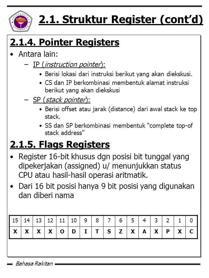 Bahasa Rakitan 2.1.Struktur Register (cont'd) 2.1.4.