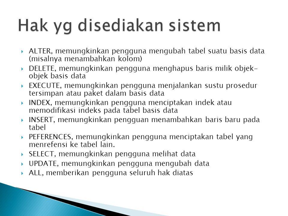  ALTER, memungkinkan pengguna mengubah tabel suatu basis data (misalnya menambahkan kolom)  DELETE, memungkinkan pengguna menghapus baris milik obje