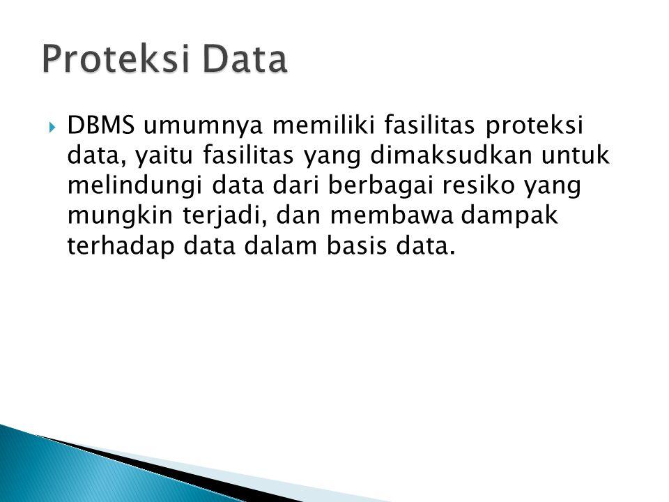  DBMS umumnya memiliki fasilitas proteksi data, yaitu fasilitas yang dimaksudkan untuk melindungi data dari berbagai resiko yang mungkin terjadi, dan membawa dampak terhadap data dalam basis data.