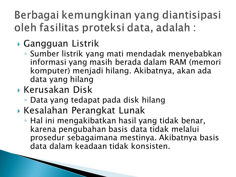  Pemulihan karena kegagalan media (misalnya disk rusak) berbeda dengan pemulihan kegagalan transaksi ataupun kegagalan sistem.