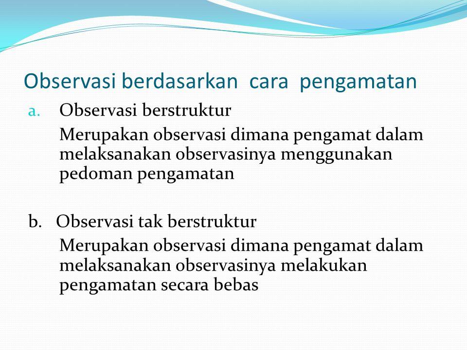 Observasi berdasarkan keterlibatan pengamat : a.
