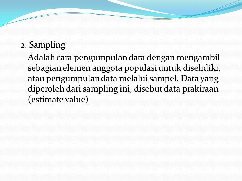 Pengumpulan data berdasarkan banyaknya data yang diambil : 1.