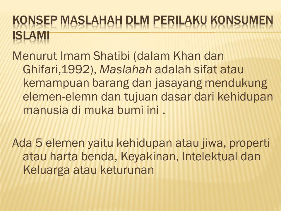 Menurut Imam Shatibi (dalam Khan dan Ghifari,1992), Maslahah adalah sifat atau kemampuan barang dan jasayang mendukung elemen-elemn dan tujuan dasar d