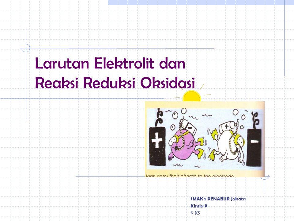 Larutan Elektrolit dan Reaksi Reduksi Oksidasi SMAK 1 PENABUR Jakata Kimia X © KS
