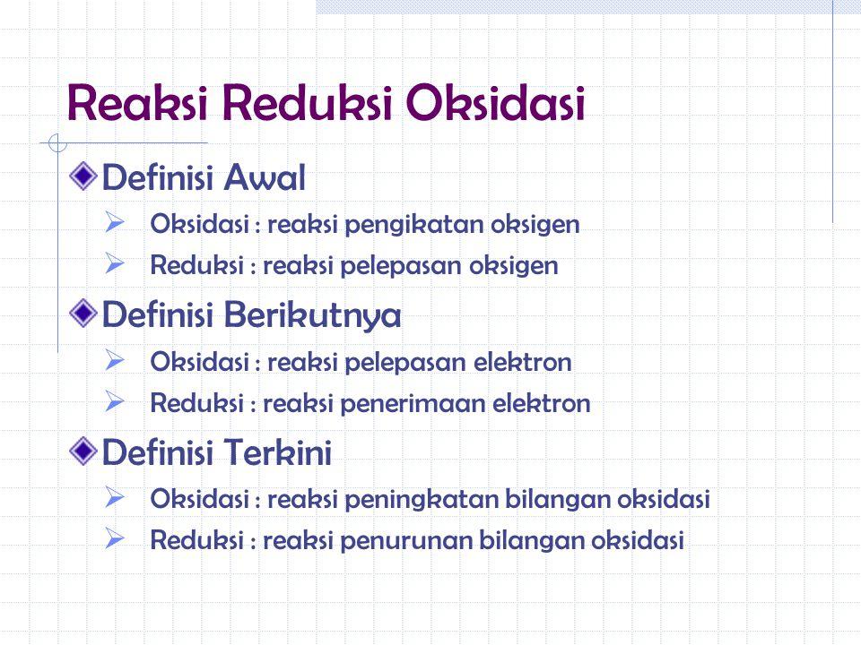 Reaksi Reduksi Oksidasi Definisi Awal  Oksidasi : reaksi pengikatan oksigen  Reduksi : reaksi pelepasan oksigen Definisi Berikutnya  Oksidasi : rea