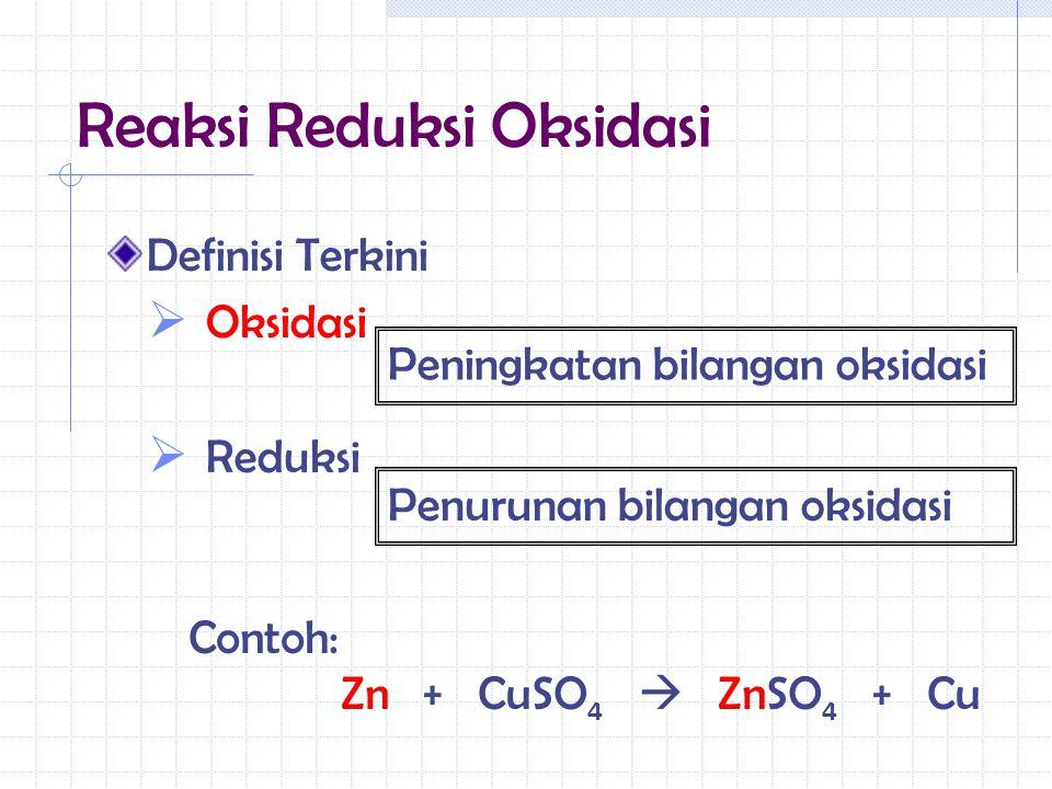 Definisi Terkini  Oksidasi  Reduksi Peningkatan bilangan oksidasi Penurunan bilangan oksidasi Contoh: Zn + CuSO 4  ZnSO 4 + Cu