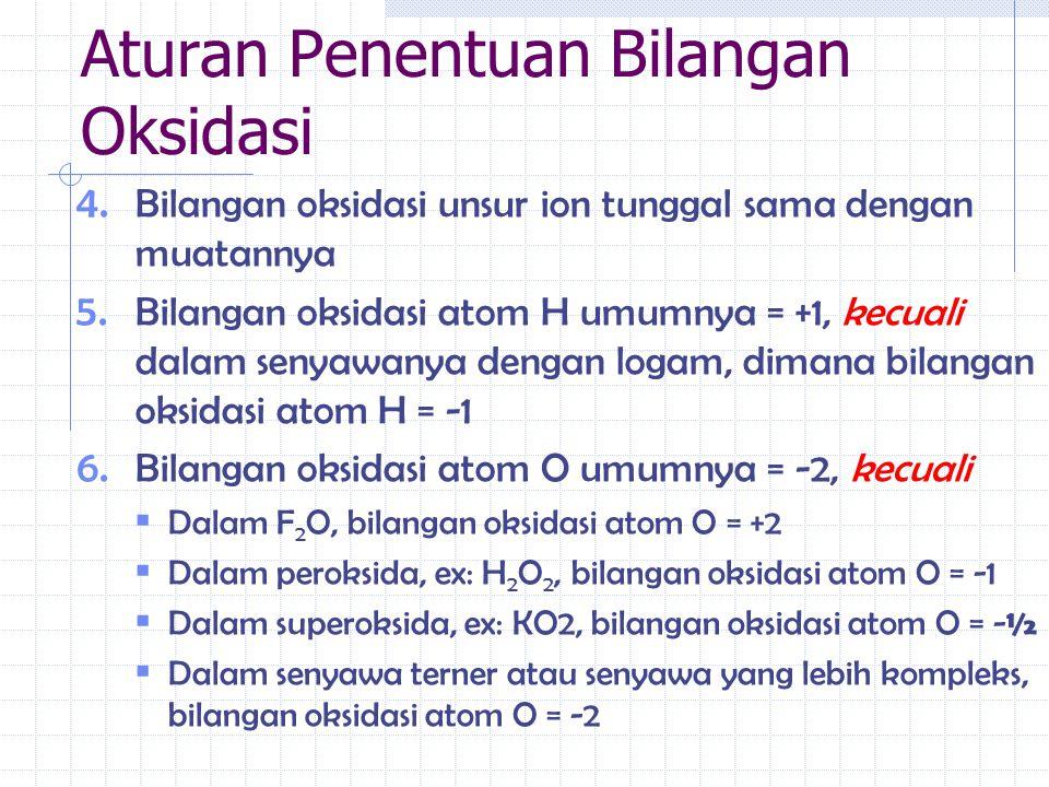 4. Bilangan oksidasi unsur ion tunggal sama dengan muatannya 5. Bilangan oksidasi atom H umumnya = +1, kecuali dalam senyawanya dengan logam, dimana b