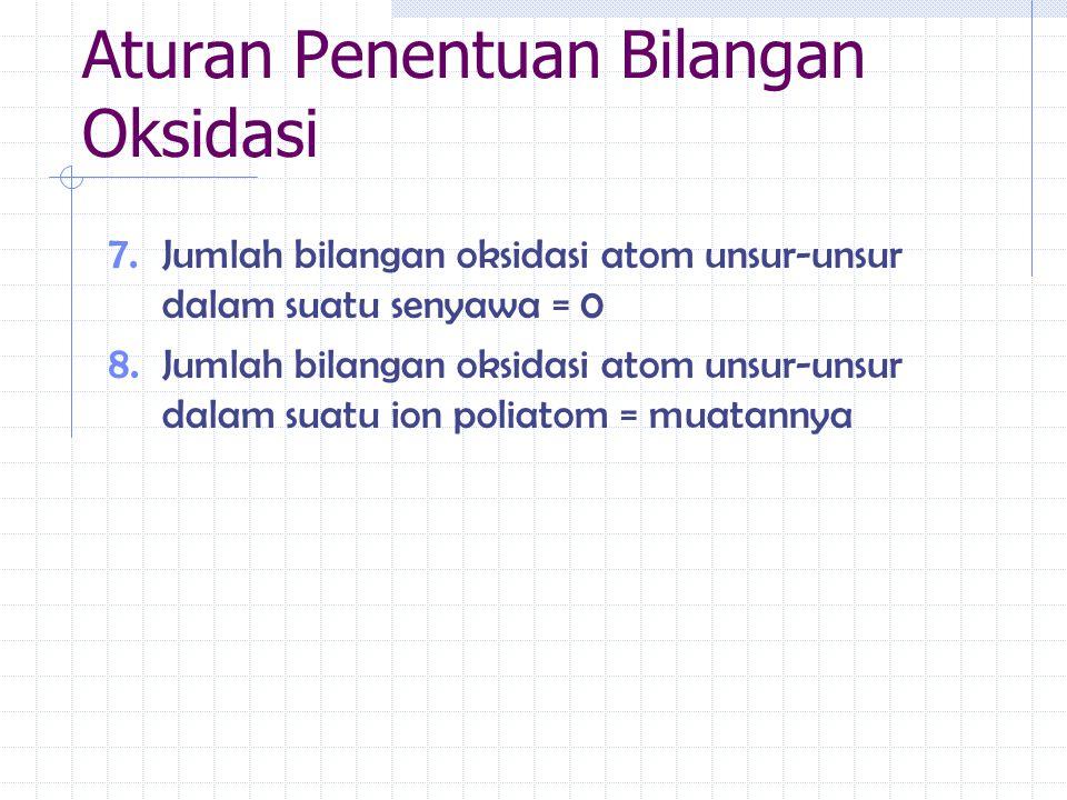 7. Jumlah bilangan oksidasi atom unsur-unsur dalam suatu senyawa = 0 8. Jumlah bilangan oksidasi atom unsur-unsur dalam suatu ion poliatom = muatannya