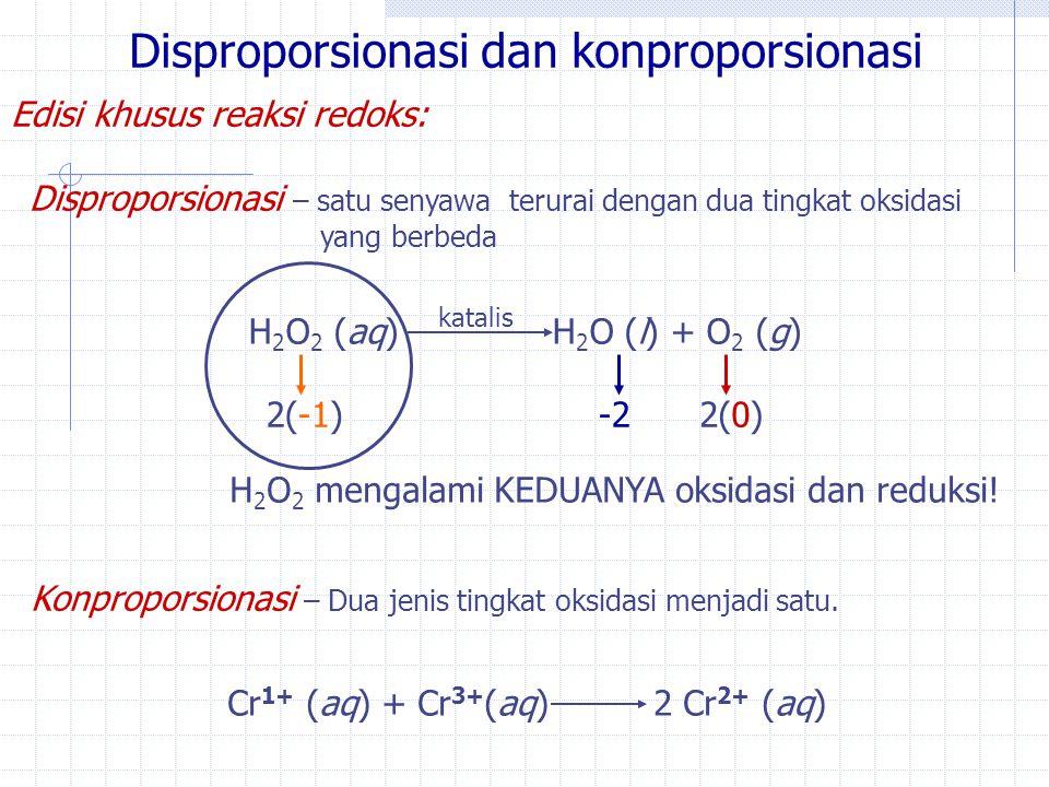 Disproporsionasi dan konproporsionasi Edisi khusus reaksi redoks: Disproporsionasi – satu senyawa terurai dengan dua tingkat oksidasi yang berbeda H 2