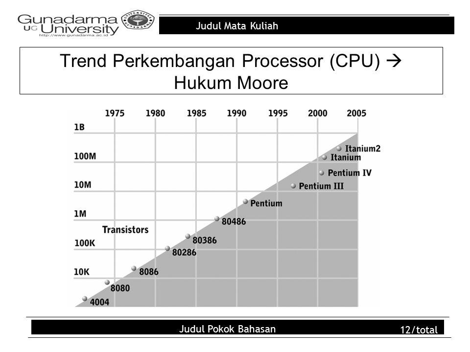 Judul Mata Kuliah Judul Pokok Bahasan 12/total Trend Perkembangan Processor (CPU)  Hukum Moore