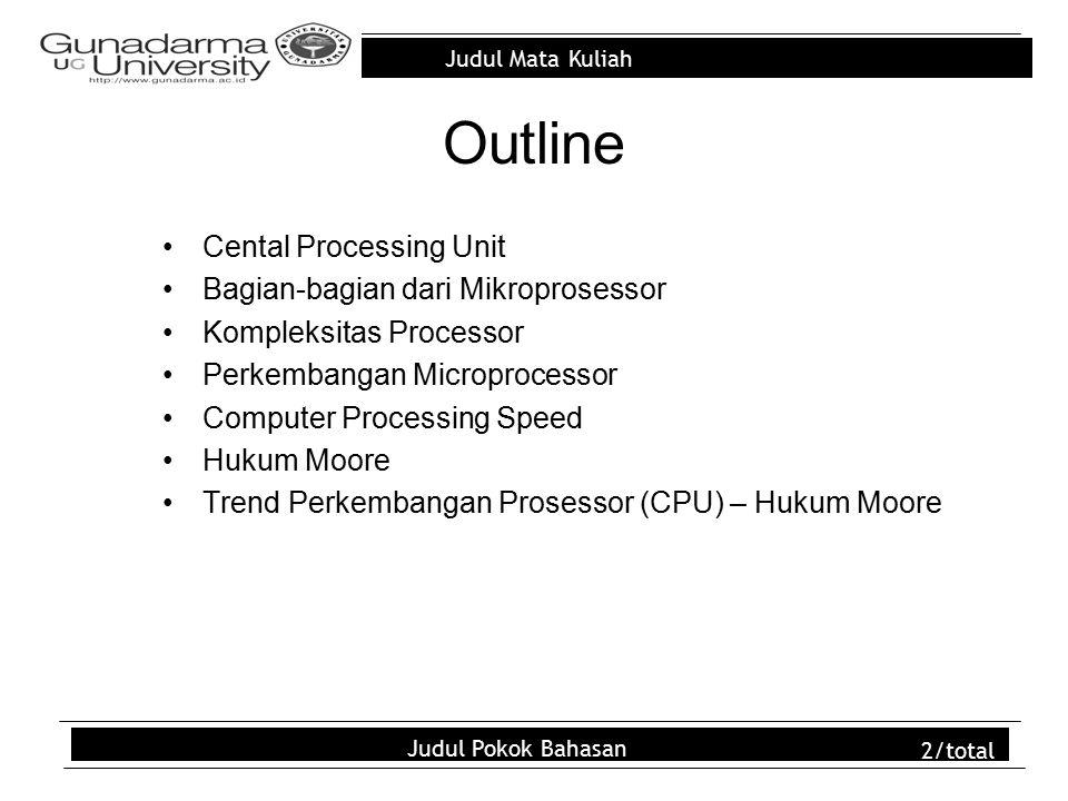 Judul Mata Kuliah Judul Pokok Bahasan 2/total Outline Cental Processing Unit Bagian-bagian dari Mikroprosessor Kompleksitas Processor Perkembangan Mic