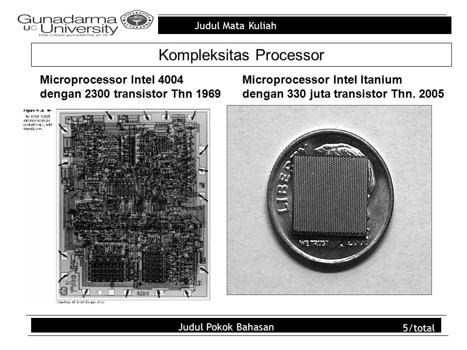 Judul Mata Kuliah Judul Pokok Bahasan 6/total TIPE MICROPROCESSOR TahunSPEED WORD LENGTH Jumlah Transistor Kap.asitas Instruksi (MIPS) Intel 40041969108 KHz4-bit2,300.06 Intel 80081972200 KHz8-bit3,500.06 Intel 808019742 MHz8-bit6,000.64 Intel 808619784.47 MHz16-bit29,000.66 Intel 808819814.47 MHz16-bit29,000.75 Intel 80286198212 MHz16-bit134,0002.66 Intel 80386198516-33 MHz32-bit275,0004 Intel 80486 (i486)198920-100 MHz32-bit1.2 Million70 Intel 80586 (Pentium)199375-200 MHz32-bit3.3 Million126 - 203 Intel Pentium Pro1995150-200 MHz32-bit5.5 Million300 Intel Pentium MMX1997166-233 MHz32-bit4.5 Million - Intel Pentium II1997233-450 MHz32-bit7.5 Million - Intel Pentium III1999450-933 MHz32-bit> 9.5 Million - Intel Itanium Processor20001 GHz64-bit15,000,0001,200