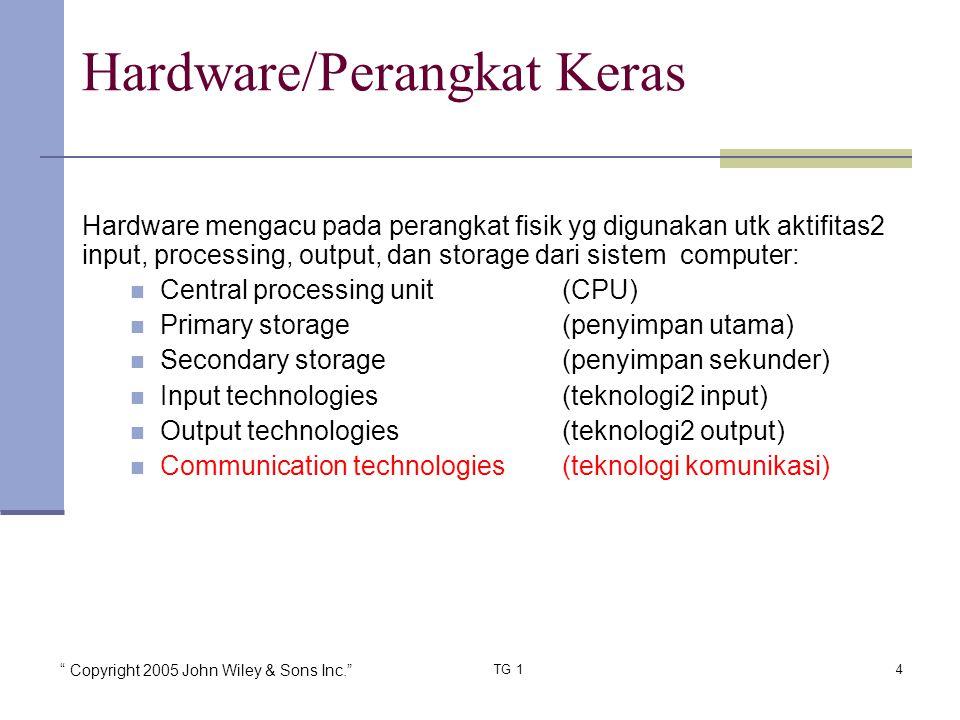 """"""" Copyright 2005 John Wiley & Sons Inc."""" TG 14 Hardware mengacu pada perangkat fisik yg digunakan utk aktifitas2 input, processing, output, dan storag"""