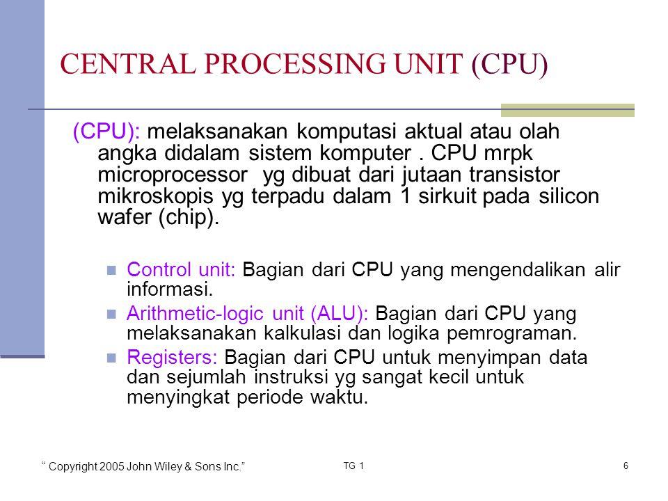 """"""" Copyright 2005 John Wiley & Sons Inc."""" TG 16 (CPU): melaksanakan komputasi aktual atau olah angka didalam sistem komputer. CPU mrpk microprocessor y"""