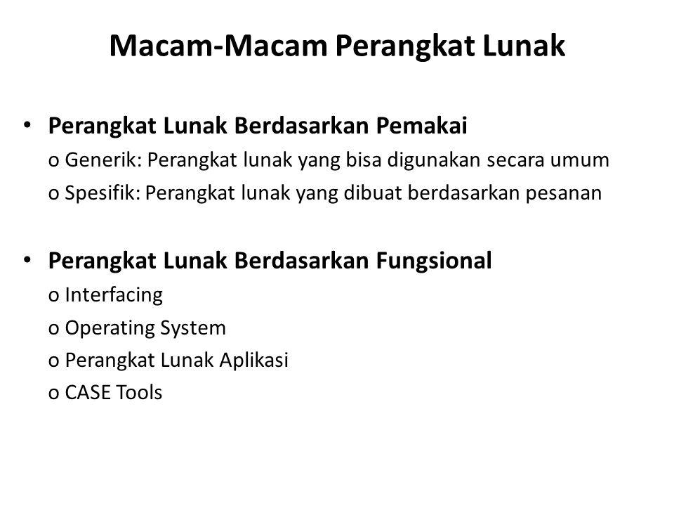 Macam-Macam Perangkat Lunak Perangkat Lunak Berdasarkan Pemakai o Generik: Perangkat lunak yang bisa digunakan secara umum o Spesifik: Perangkat lunak