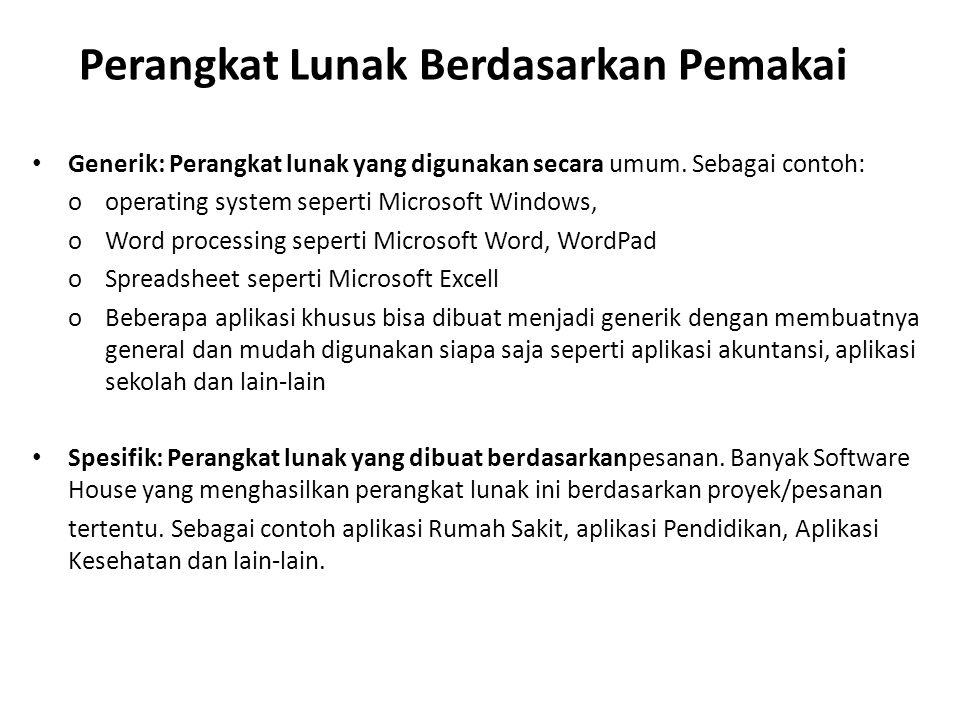 Perangkat Lunak Berdasarkan Pemakai Generik: Perangkat lunak yang digunakan secara umum. Sebagai contoh: o operating system seperti Microsoft Windows,