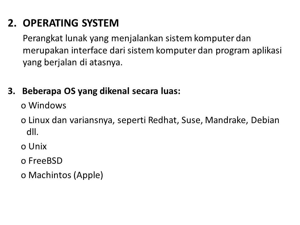 2.OPERATING SYSTEM Perangkat lunak yang menjalankan sistem komputer dan merupakan interface dari sistem komputer dan program aplikasi yang berjalan di