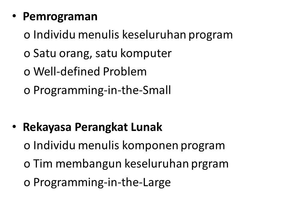 Pemrograman o Individu menulis keseluruhan program o Satu orang, satu komputer o Well-defined Problem o Programming-in-the-Small Rekayasa Perangkat Lu