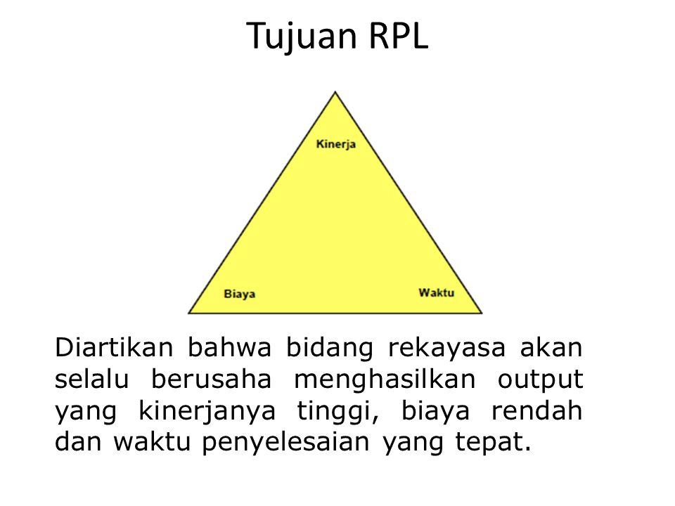Tujuan RPL Diartikan bahwa bidang rekayasa akan selalu berusaha menghasilkan output yang kinerjanya tinggi, biaya rendah dan waktu penyelesaian yang t