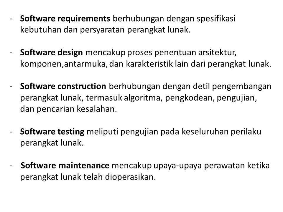 -Software requirements berhubungan dengan spesifikasi kebutuhan dan persyaratan perangkat lunak. -Software design mencakup proses penentuan arsitektur