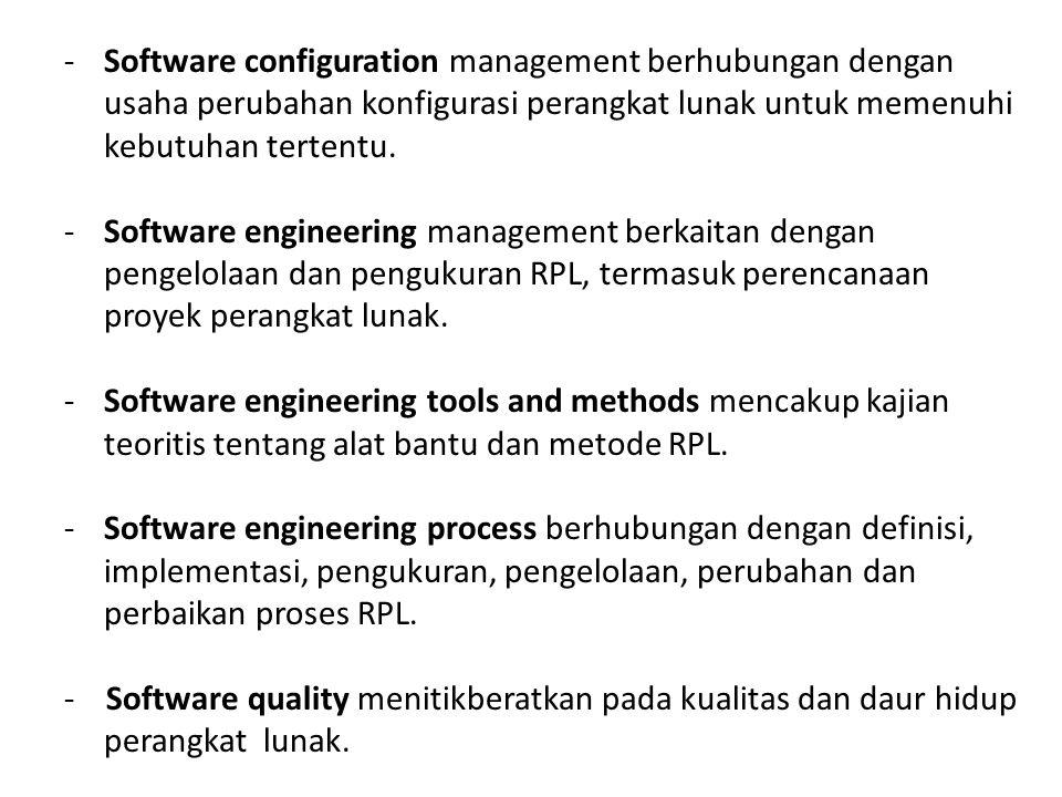 -Software configuration management berhubungan dengan usaha perubahan konfigurasi perangkat lunak untuk memenuhi kebutuhan tertentu. -Software enginee