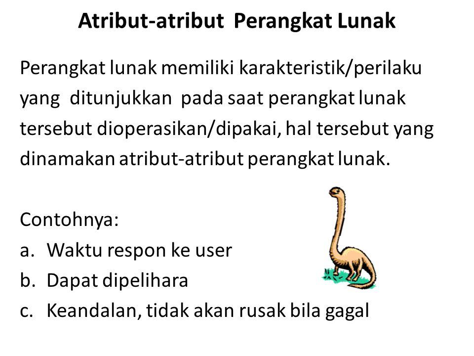 Attribut-Attribut Perangkat Lunak Perangkat lunak harus: Memberikan fungsionalitas dan kinerja yang dibutuhkan user, Dapat dipelihara: perangkat lunak dapat diubah sesuai perubahan kebutuhan user.